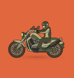 A man riding motorbike graphic vector