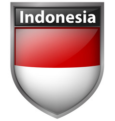 Badge design for indonesia flag vector