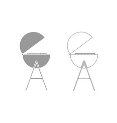 Barbecue or grill grey set icon vector