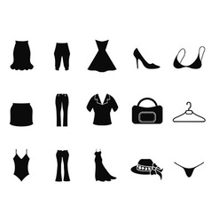 Black woman fashion icons set vector