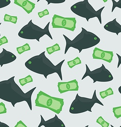 Business shark with money dollars seamless pattern vector image