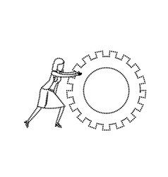 businesswoman pushing a big gears cogwheel vector image