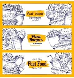 Fast food sketch banners set vector