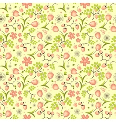 Floral fruit and berry colorful seamless pattern vector image