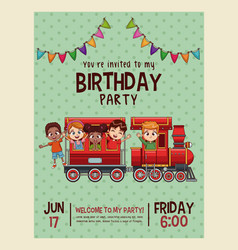 Happy birthday invitation blue card vector