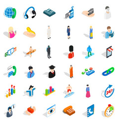 Human resource icons set isometric style vector