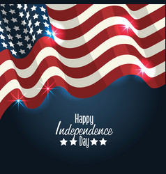 Independence day with flag decoration design vector