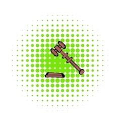 Judge gavel icon comics style vector image