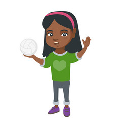 Little african girl holding a volleyball ball vector