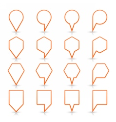 Orange map pin sign flat location icon web button vector