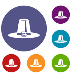 Pilgrim hat icons set vector