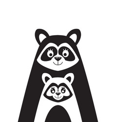 poster with the image of a family of raccoons vector image vector image