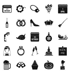 Precious gift icons set simple style vector