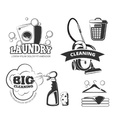 Retro cleaning and laundry services labels vector image