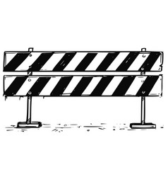 Road detour closed block sign drawing vector