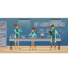 Scientists in lab retro cartoon poster vector