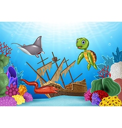 Sea animals with shipwreck on the ocean vector