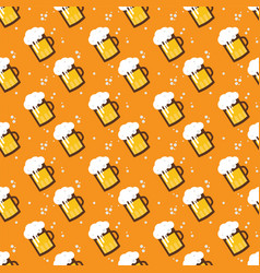 Seamless beer pattern beer mugs and glasses on an vector