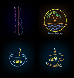 set neon sign theme summer bright signboard vector image vector image
