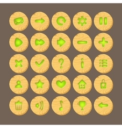 Set of Cartoon wood buttons with web icons vector image vector image
