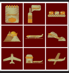set of flat icons in shading style planes vector image