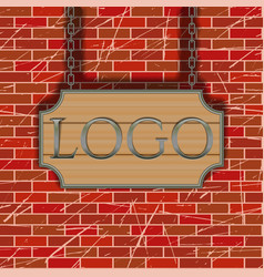 tavern signboard template on brick wall vector image