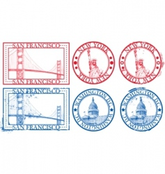 Usa famous cities stamps vector