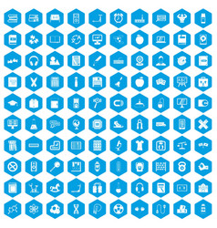 100 learning kids icons set blue vector image vector image