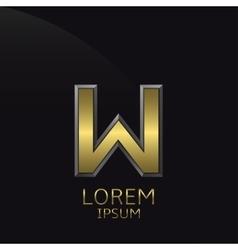 Golden W Letter emblem vector image