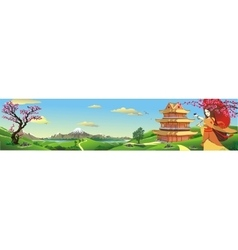 Panorama nature in japan vector