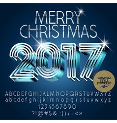 Silver futuristic merry christmas greeting card vector