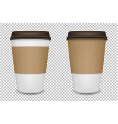 Realistic blank paper coffee cup set vector