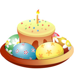 Dish with easter cake and eggs vector