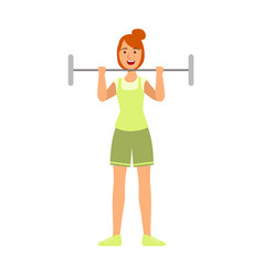 Young woman lifting barbell for biceps vector