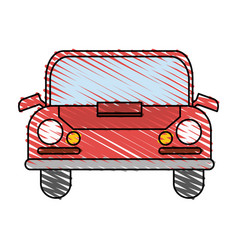 Color crayon stripe front view automobile vector