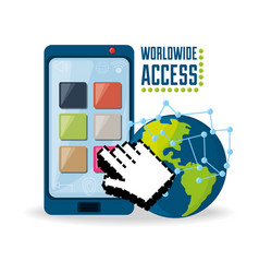 Smartphone and hand cursor related with internet vector