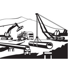 Construction of above ground pipeline vector