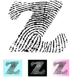 Fingerprint Alphabet Letter Z vector image