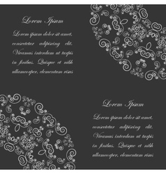 Black background with white vintage ornate pattern vector