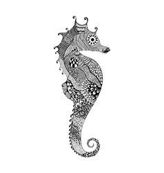 Zentangle stylized black Sea Horse Hand Drawn vector image