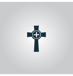 Tombstone - cross gravestone icon vector