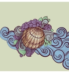 Seashell in waves vector