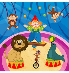Arena in circus with animal and clown vector