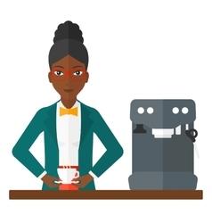 Woman making coffee vector