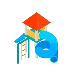 Colorful slide with a roof for the playground vector