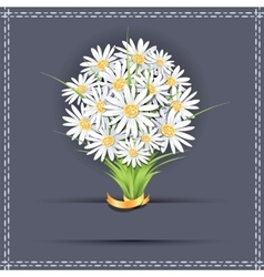 Daisy flower bouquet on the greeting card vector