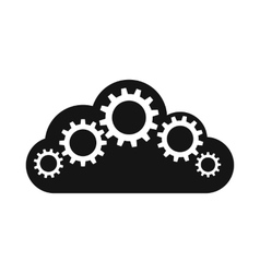 Cloud with gears icon simple style vector