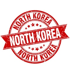 North korea red round grunge vintage ribbon stamp vector