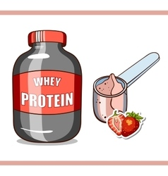 Jar with strawberry protein vector
