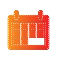 Calendar sign  orange applique vector